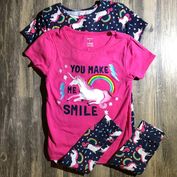 b9c0cf471 Carter's Pajamas | Carters Girl Pajama Set Pink Unicorns Rainbows ...